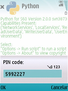 Typing PIN number